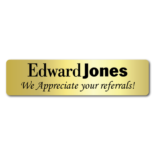 4 x 1 Edward Jones We Appreciate your referrals, Gold Foil, Roll of 50 Stickers