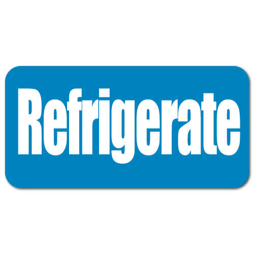 REFRIGERATE, Blue on White Gloss Paper Stickers