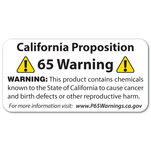 """2"""" x 1"""" California Proposition 65 Warning Stickers"""
