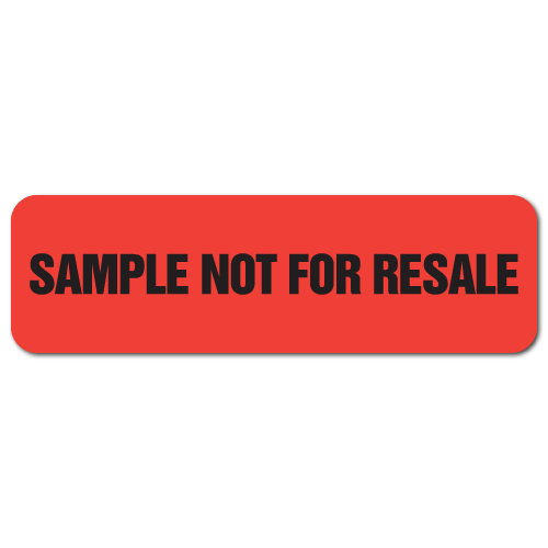 2.5 x 0.75 Sample Not For Resale Neon Red, Roll of 1,000 Stickers