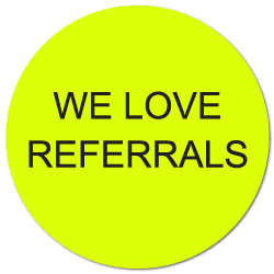 """We Love Referrals"" Stickers, Special Offer Buy 1 Get 1 Free!"