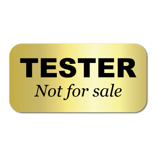 1.5 x 0.75 Tester, Not for Sale, Shiny Gold Foil, Roll of 500 Stickers
