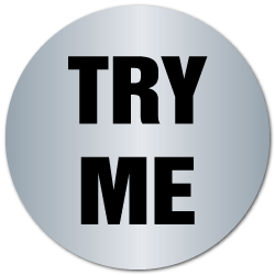 """TRY ME"" Shiny Silver Foil Circle Labels"