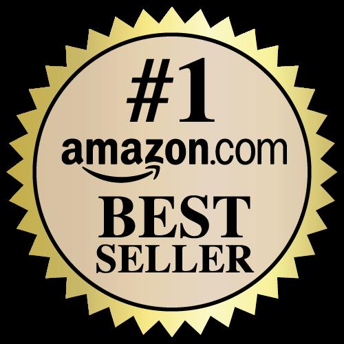 2 Inch Burst Amazon Best Seller Book Award Black and Beige on Gold Labels