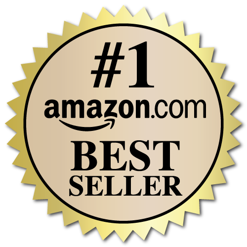 2 Inch Burst Amazon Best Seller Book Award Black and Beige on Gold Labels