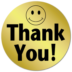 """""""Thank You"""" Smiley Face Foil Circle Stickers"""