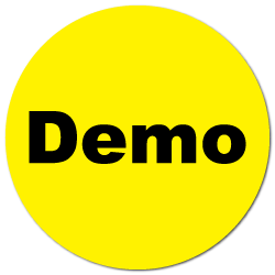 """Demo"" Yellow Gloss Circle Stickers"