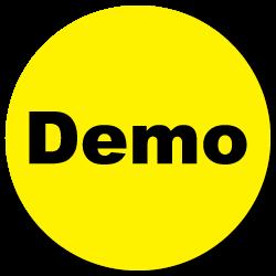 """Demo"" Yellow Gloss Circle Stickers"