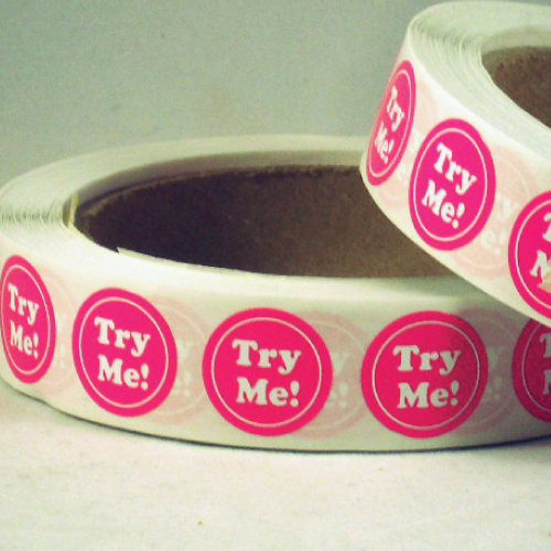 TRY ME White on Pink Circle Stickers on Rolls