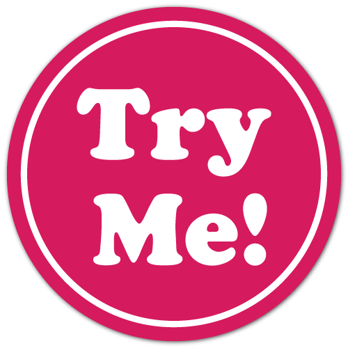 0.75 Inch Diameter TRY ME White on Pink Circle Stickers, Roll of 500