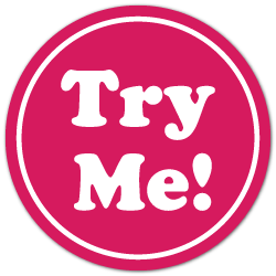 """TRY ME"" White on Pink Circle Stickers"