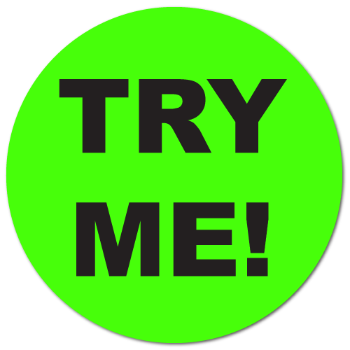 """""""TRY ME"""" Fluorescent Green Circle Labels"""