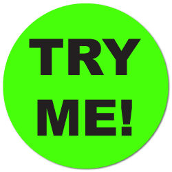 """TRY ME"" Fluorescent Green Circle Labels"