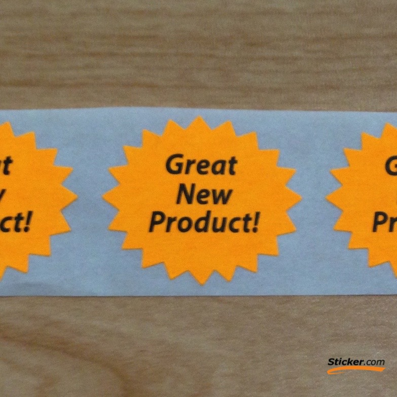"""Great New Product"" Fluorescent Orange Stickers"