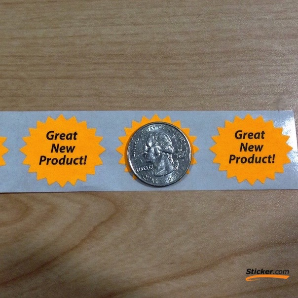 """""""Great New Product"""" Fluorescent Orange Stickers"""