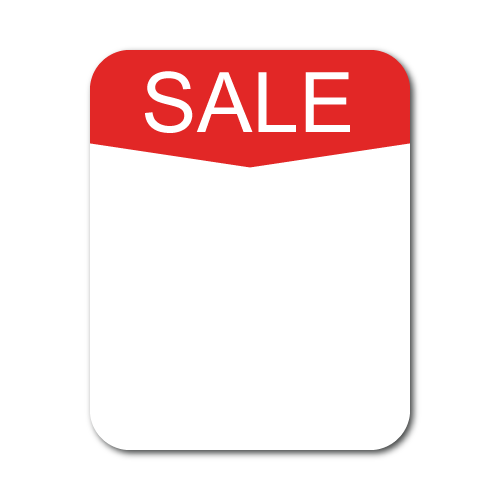 SALE Arrow Red on White Matte Paper, 1 x 1.25 Rectangle, Roll of 500
