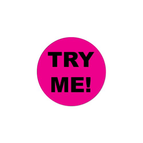 """""""TRY ME"""" Fluorescent Pink Circle Labels"""