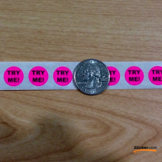 """""""TRY ME"""" Fluorescent Pink Circle Stickers"""