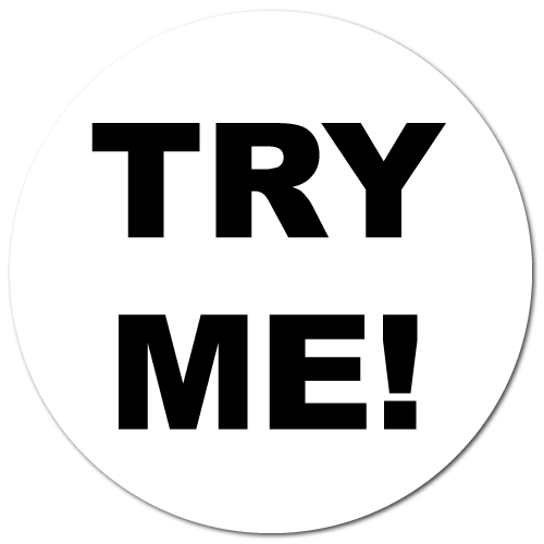 """""""TRY ME"""" White Circle Labels"""