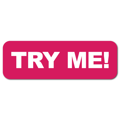 """Try Me"" Stickers with a Pink Background"