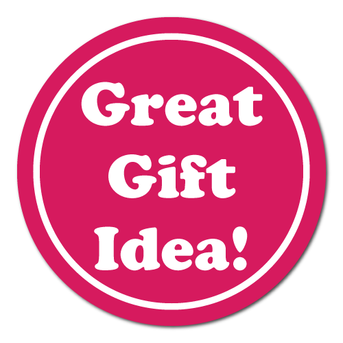 """Great Gift Idea"" White on Pink Circle Labels"