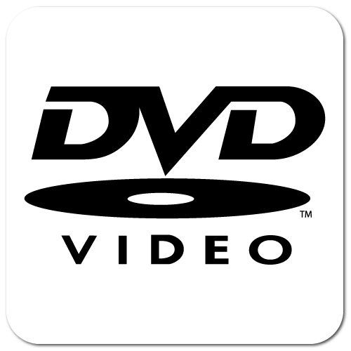 DVD Video, Black on White Gloss, Roll of 100 Stickers