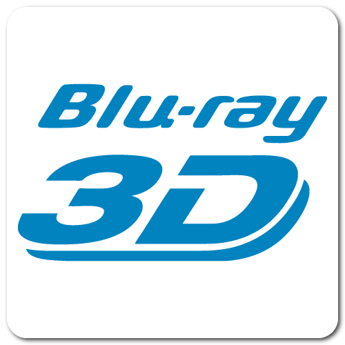 Blu-ray 3D, Blue on White Gloss, Roll of 50 Stickers