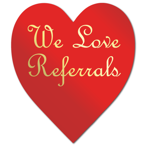 """""""We Love Referrals"""" Gold Heart Shape Stickers"""