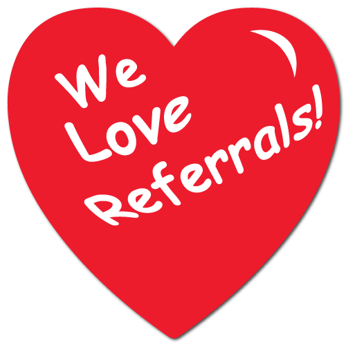 """We Love Referrals"" Heart Shape Stickers"