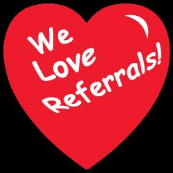 """We Love Referrals"" Heart Shape Stickers"