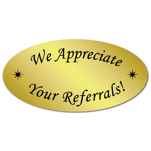 1 x 2 We Appreciate Your Referrals Gold Foil, Roll of 500 Stickers