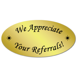 1+x+2+We+Appreciate+Your+Referrals+Gold+Foil%2C+Roll+of+100+Stickers