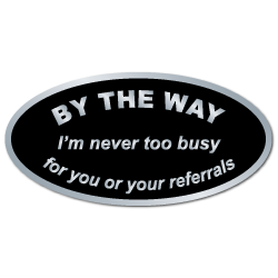"""""""By The Way"""" Referral Stickers"""