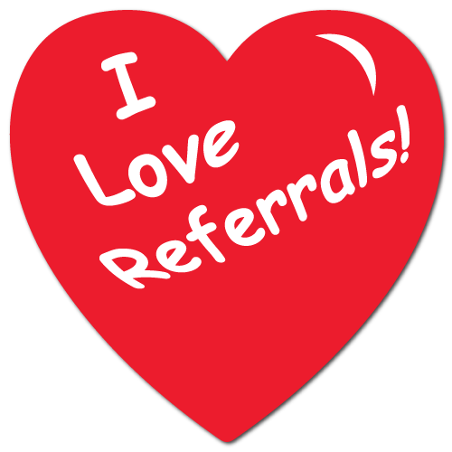 I Love Referrals Heart Shape, Roll of 100 Stickers