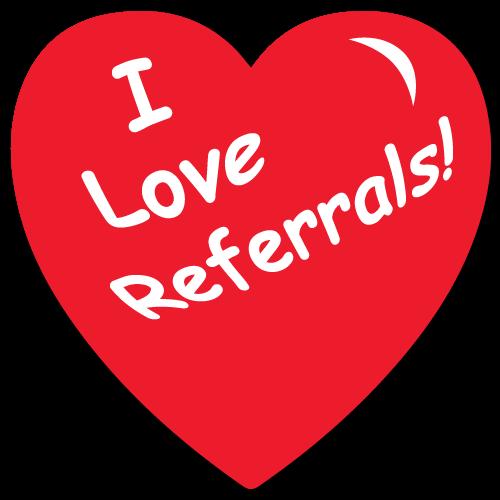 """I Love Referrals"" Heart Shape Stickers"