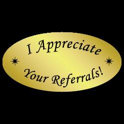 """""""I appreciate your referrals!"""" Labels"""