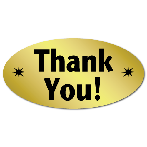 Thank You Oval Gold Foil Stickers, Roll of 100 Stickers