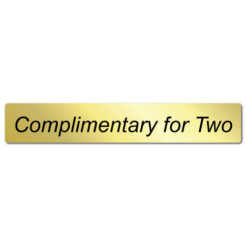 3 x 0.5 Complimentary for Two Shiny Gold Stickers, Roll of 100 Labels