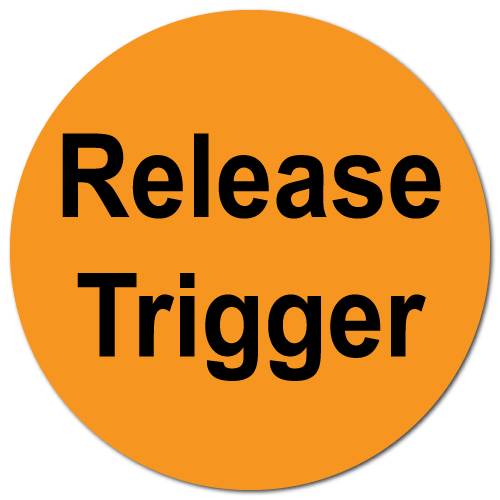 """Release Trigger"" Fluorescent Orange Circle Stickers"