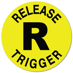 """Release Trigger"" Fluorescent Yellow Circle Stickers"