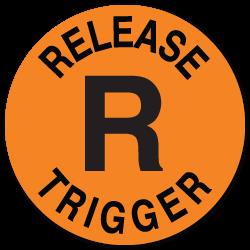 Waterproof Release Trigger, Orange Circle Stickers