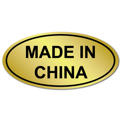 Made In China, Oval, Gold Foil Labels, Roll of 50