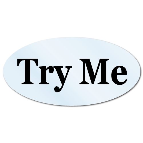 Try Me Oval 0.31 x 0.63 Black on Clear Background, Roll of 500 Stickers