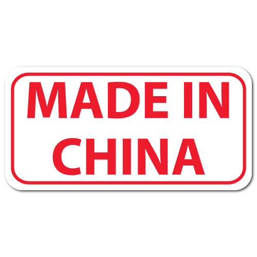 Made in China Rectangle Labels