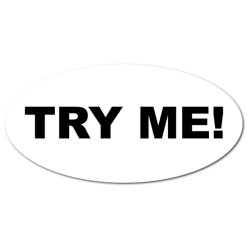 """Try Me"" Oval White Stickers"