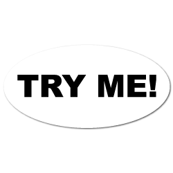 """""""Try Me"""" Oval White Stickers"""