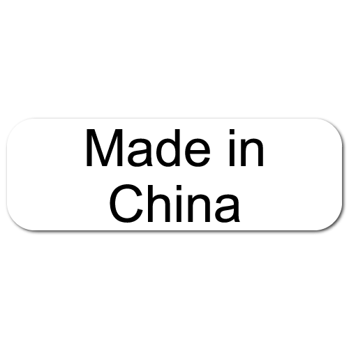 Made In China, Rectangle Black on White Gloss Labels, Roll of 500