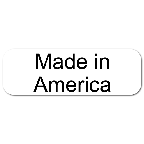 Made In America, Rectangle Black on White Gloss Labels, Roll of 1,000