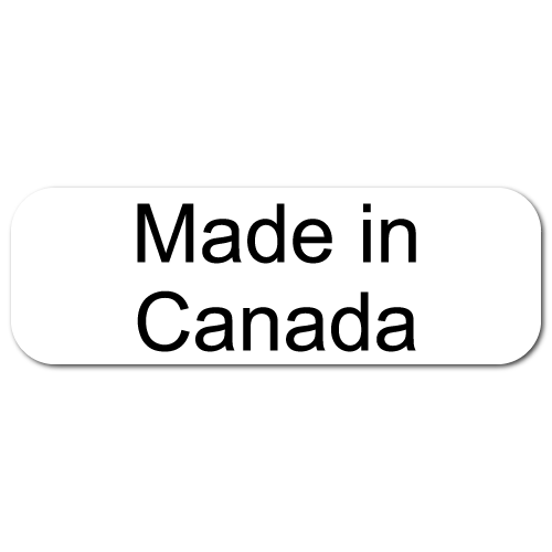 Made In Canada, Rectangle Black on White Gloss Labels, Roll of 1,000