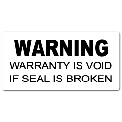 """WARING Warranty Void"" Tamper Proof Stickers"